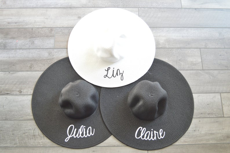 personalized black floppy hat