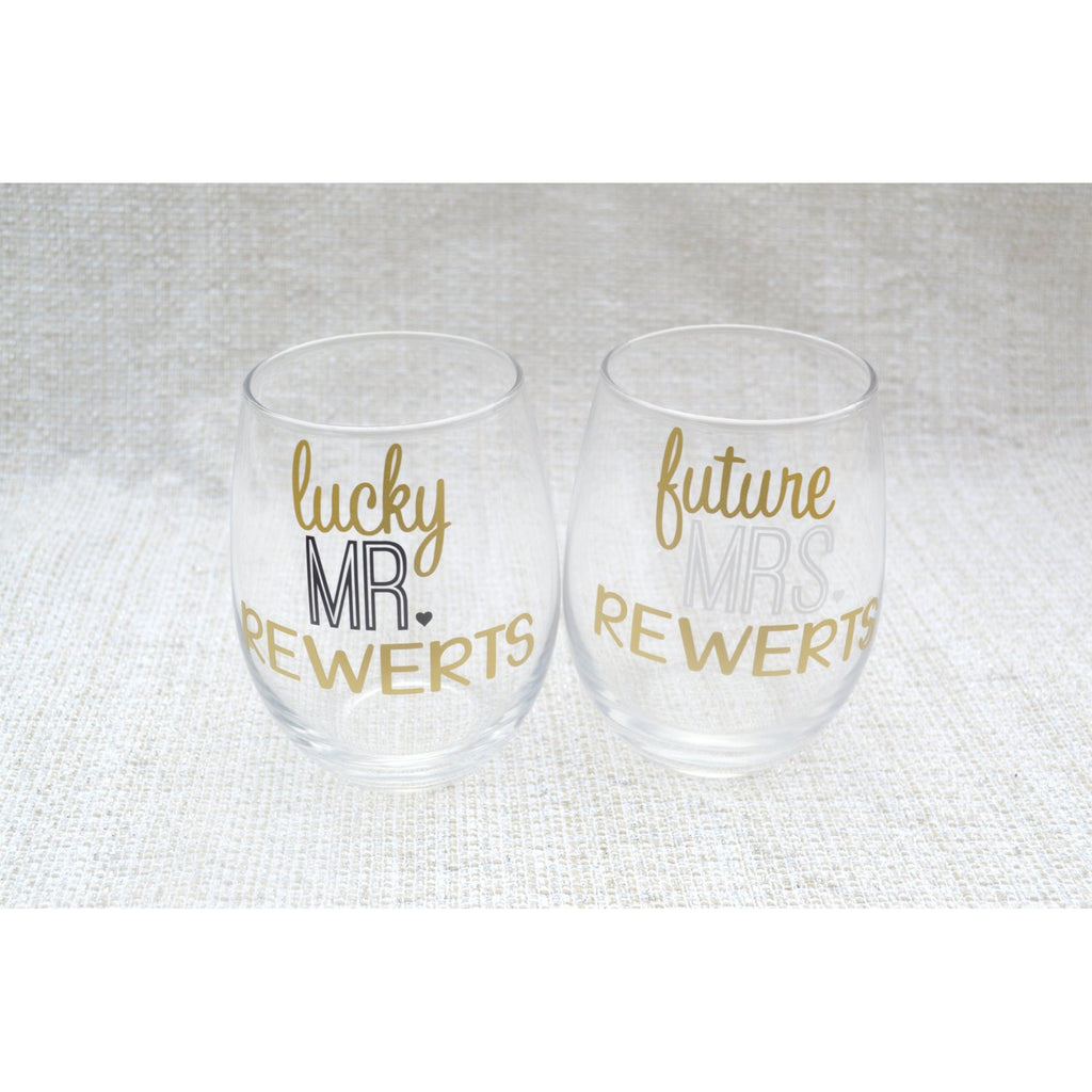 lucky mr and future mrs. stemless wine glass set