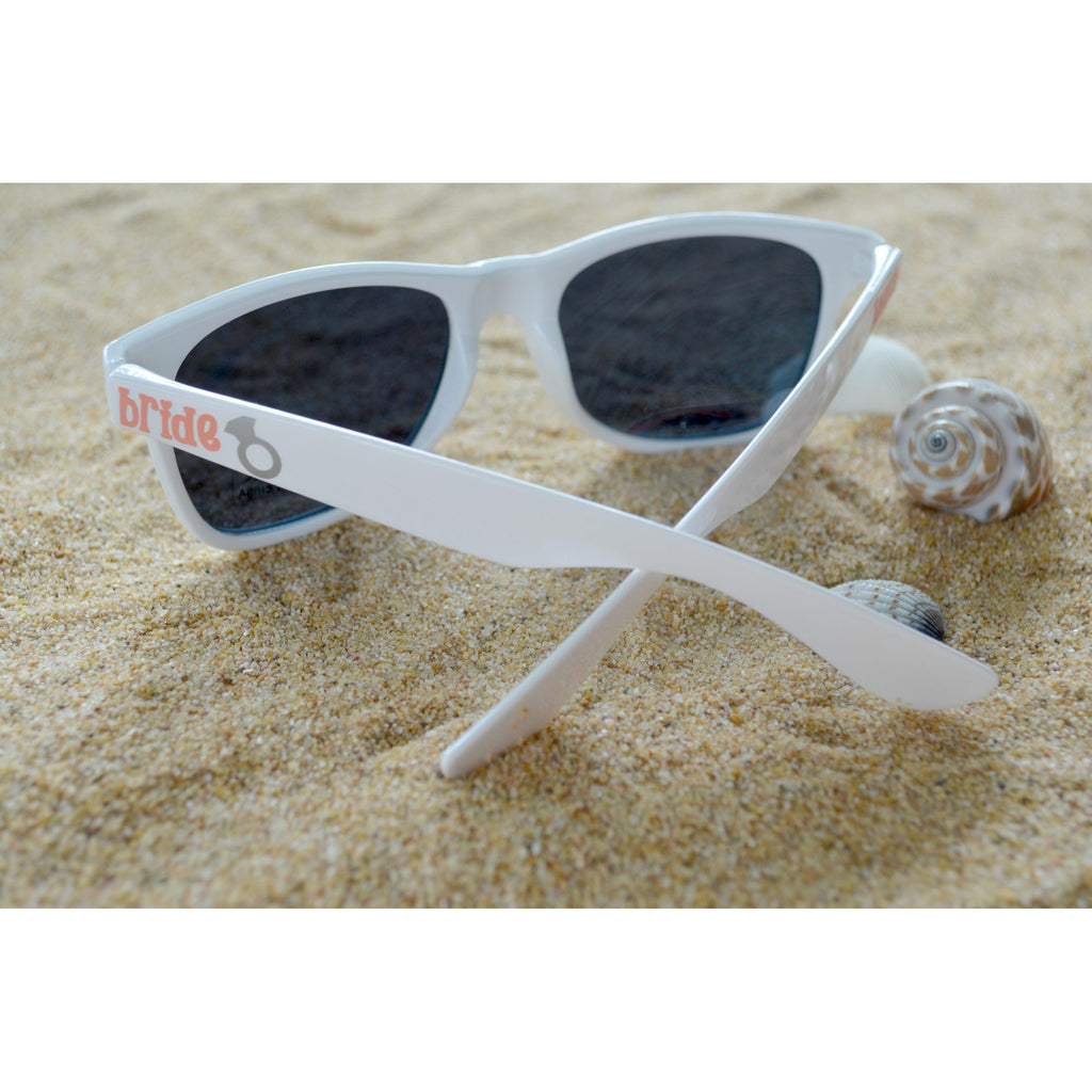 personalized bride sunglasses white wayfarer with bride on the arm