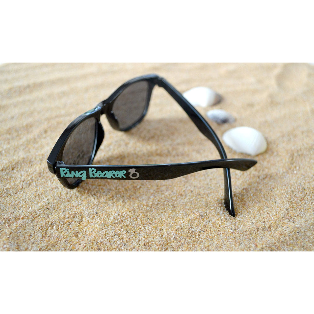 ring bearer youth sunglasses black wayfarer with mint text and a ring