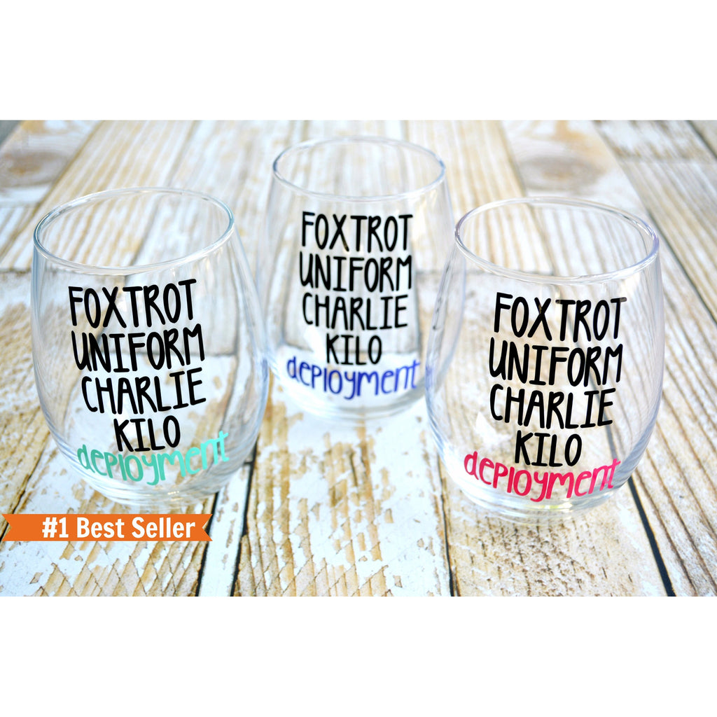 FUCK deployment phonetic alphabet stemless wine glass