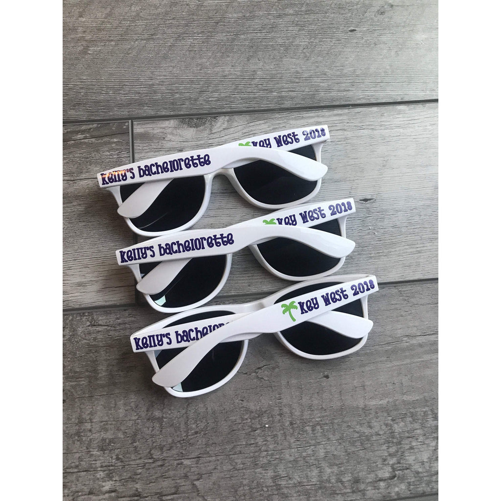 adult white wayfarer sunglasses personalized for bachelorette party key west