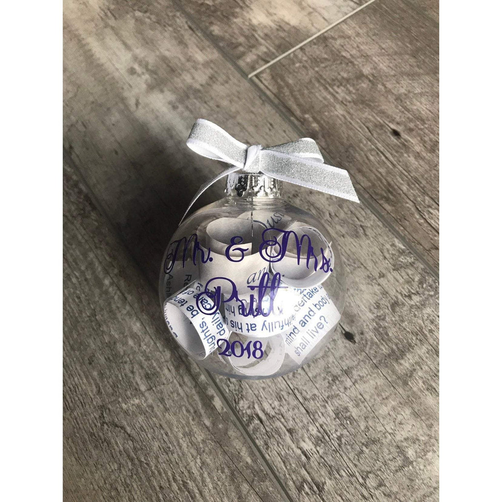 wedding invitation ornament keepsake