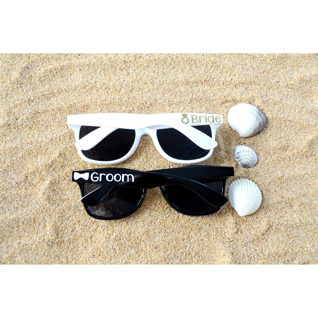 white and black bride and groom sunglasses set
