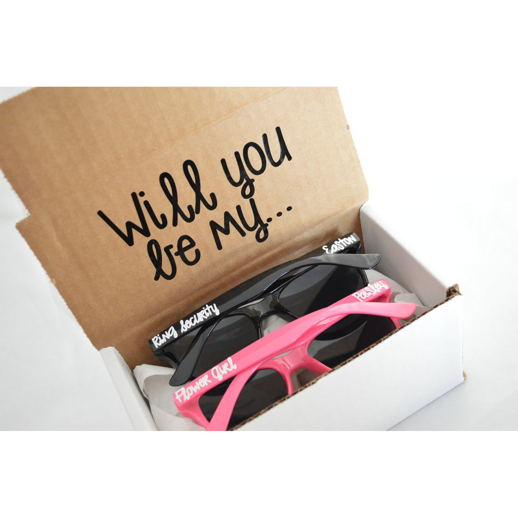 will you be my ring security and flower girl sunglass set proposl box