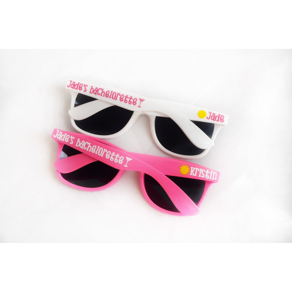 bachelorette party sunglasses white pink wayfarer personalized