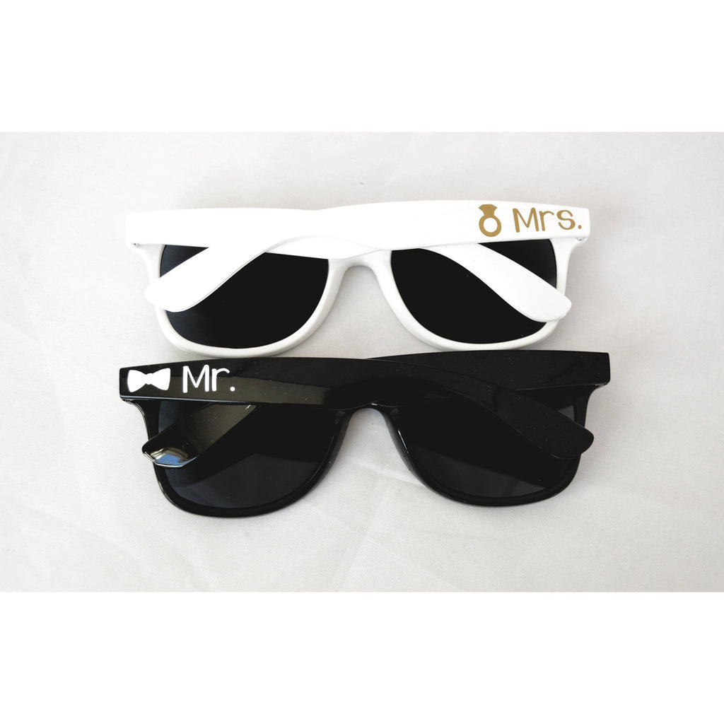black and white mr and mrs sunglasses set