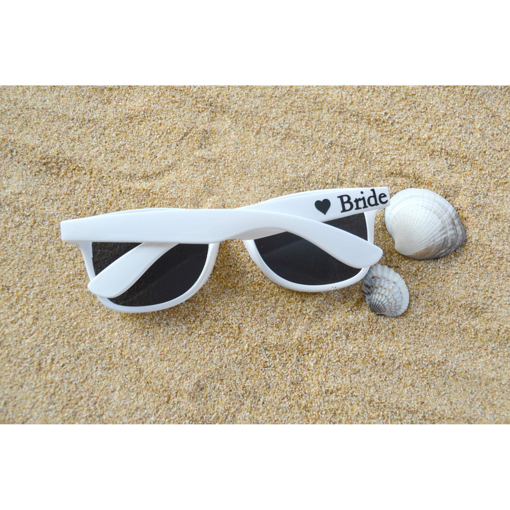 white bride sunglasses with black text and a heart