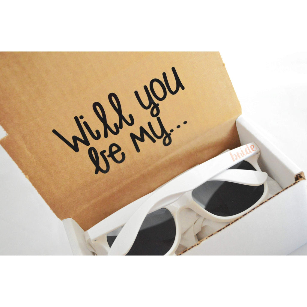 Will you be my bride sunglasses proposal box