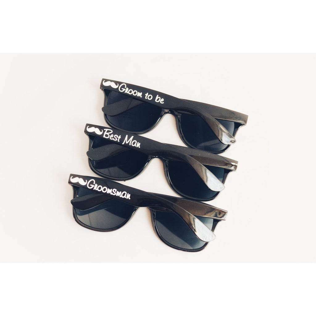 Groomsmen Sunglasses black wayfarers with white text