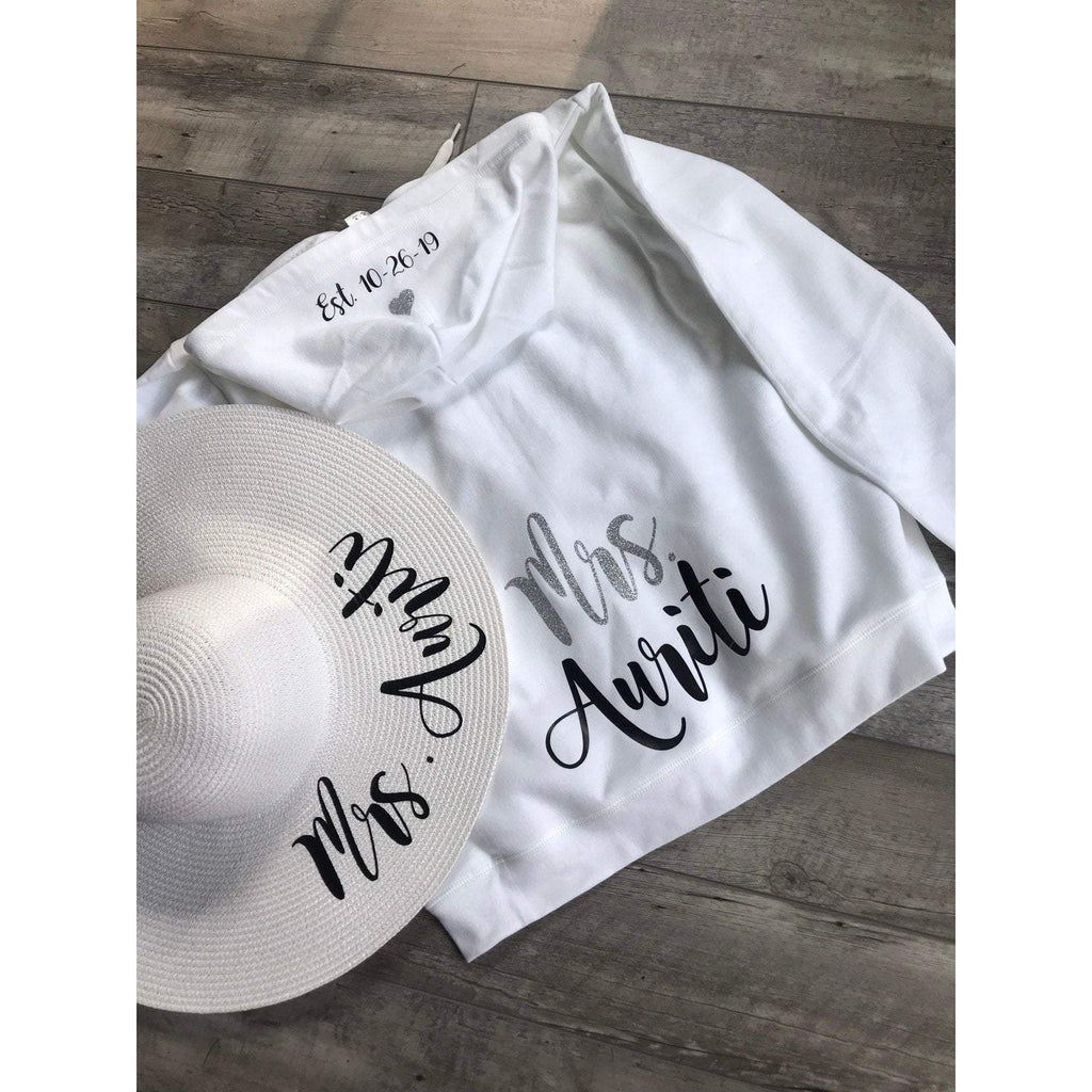 personalized future mrs. zippered hoodie and personalized white floppy hat