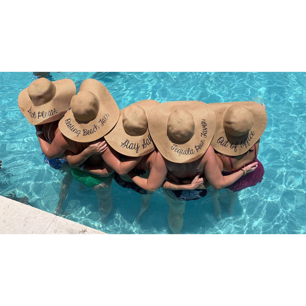 personalized floppy sun hats for bachelorette party or beach