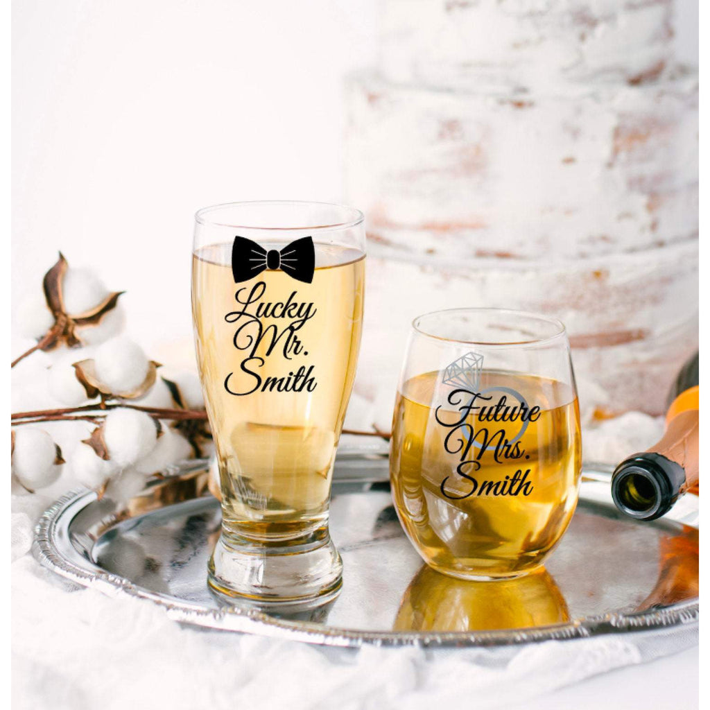 Lucky Mr Pilsner Beer Glass with Bow Tie and Future Mrs Wine with Ring