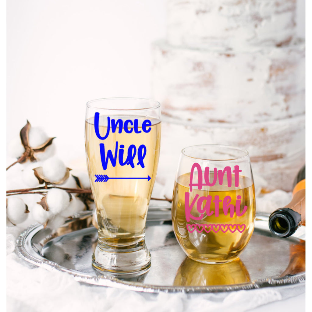 aunt and uncle pilsner and wine glass set