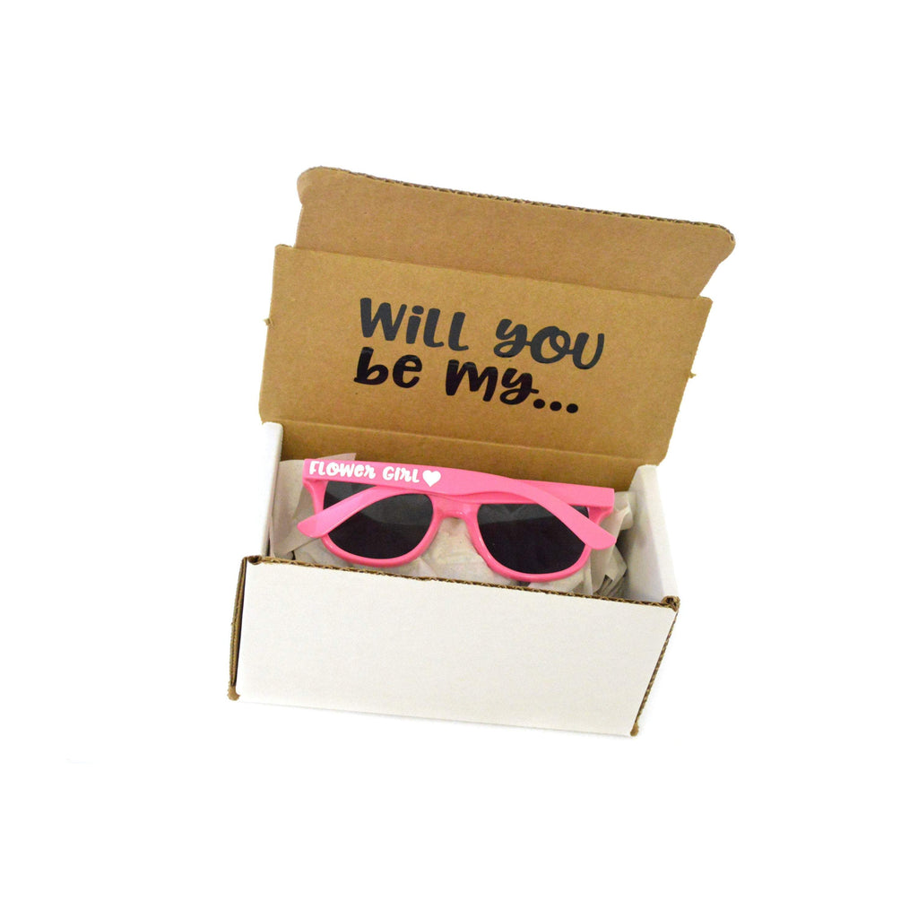 will you be  my flower girl sunglasses proposal box