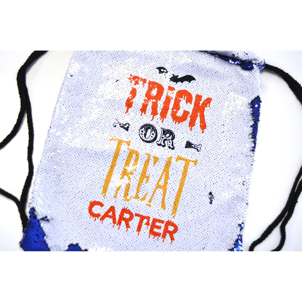 trick or treat sequin drawstring bag for halloween