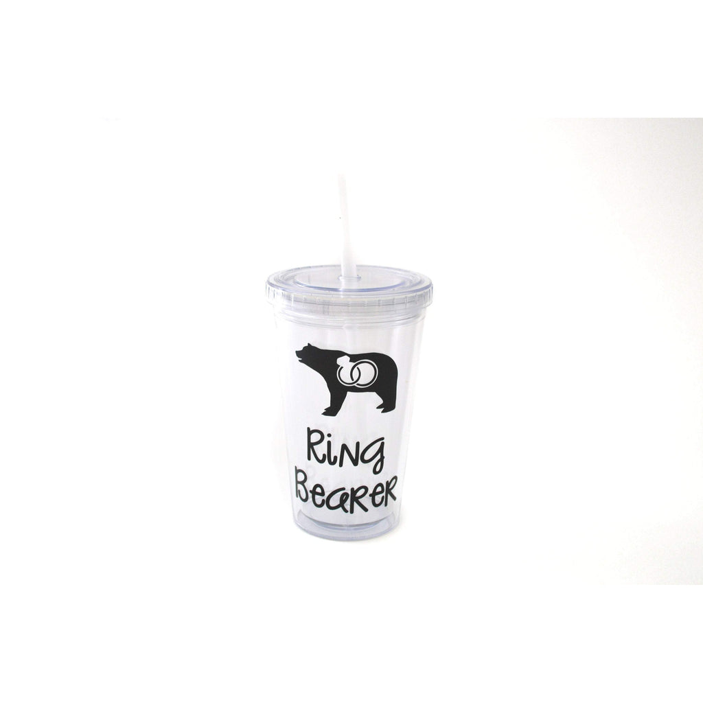 ring bearer acrylic tumbler with straw and lid