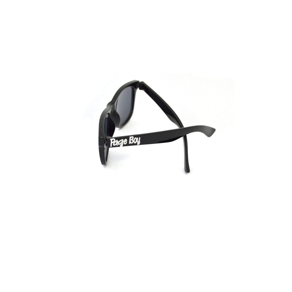 page boy sunglasses kids black sunglasses with white text