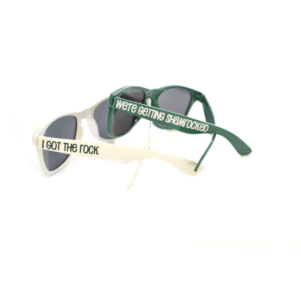 i got the rock and we're getting shamrocked white and green adult sunglasses for st patricks day