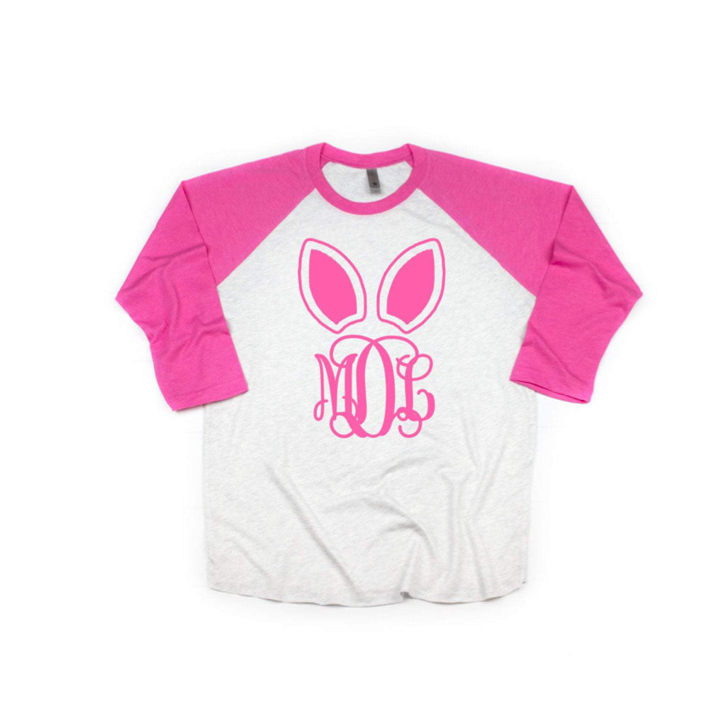easter bunny ear monogrammed pink raglan shirt for her