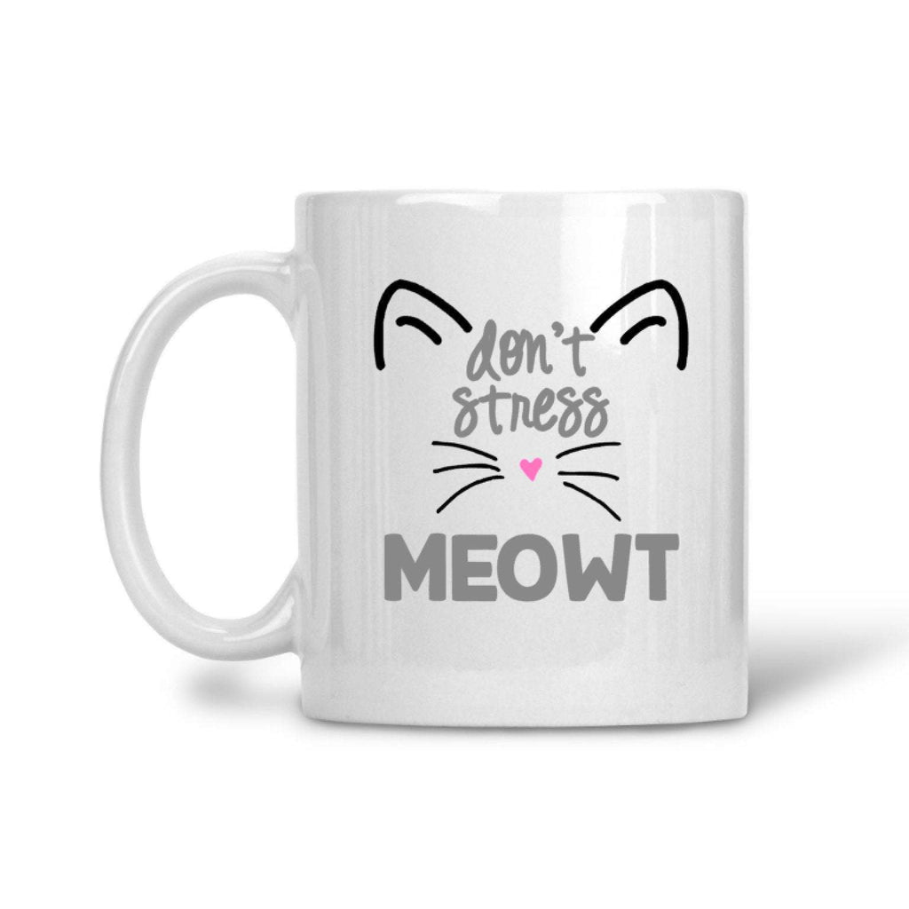 dont stress meowt printed coffee cup with cat design