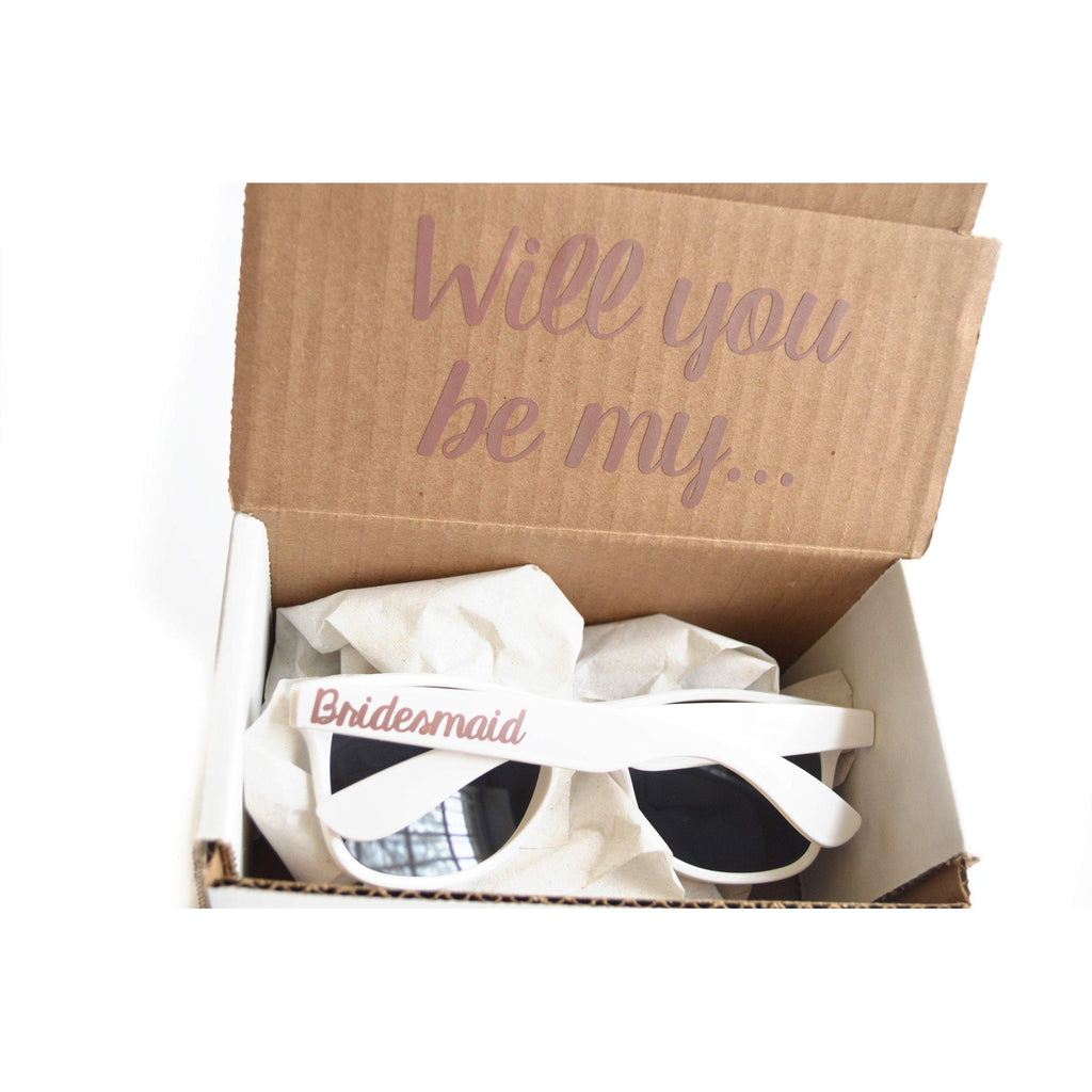 will you be my bridesmaid sunglasses proposal box