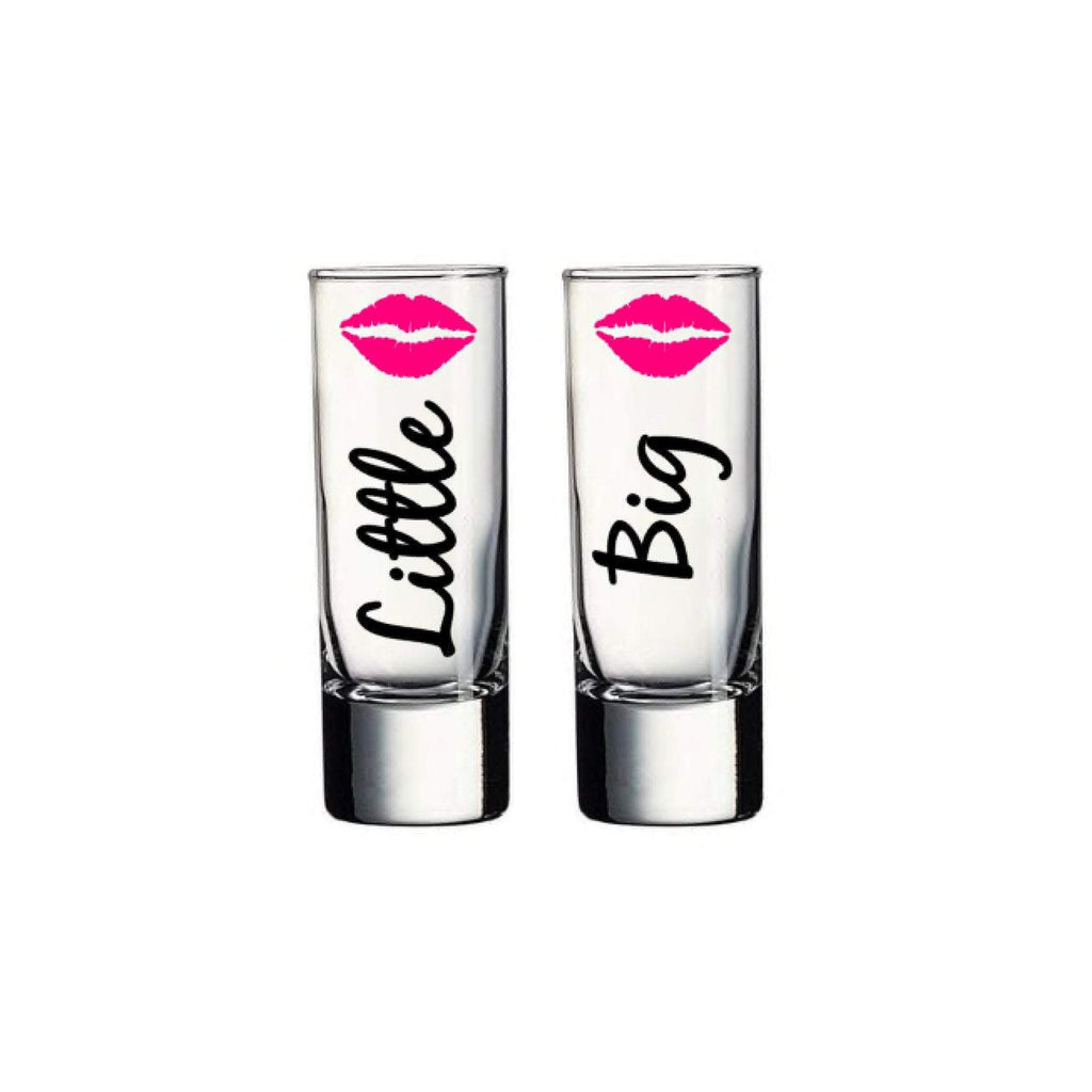 big little sorority sister shot glass set with black text and hot pink lips