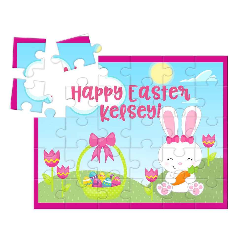 girls pink personalized puzzle for easter with bunny and basket