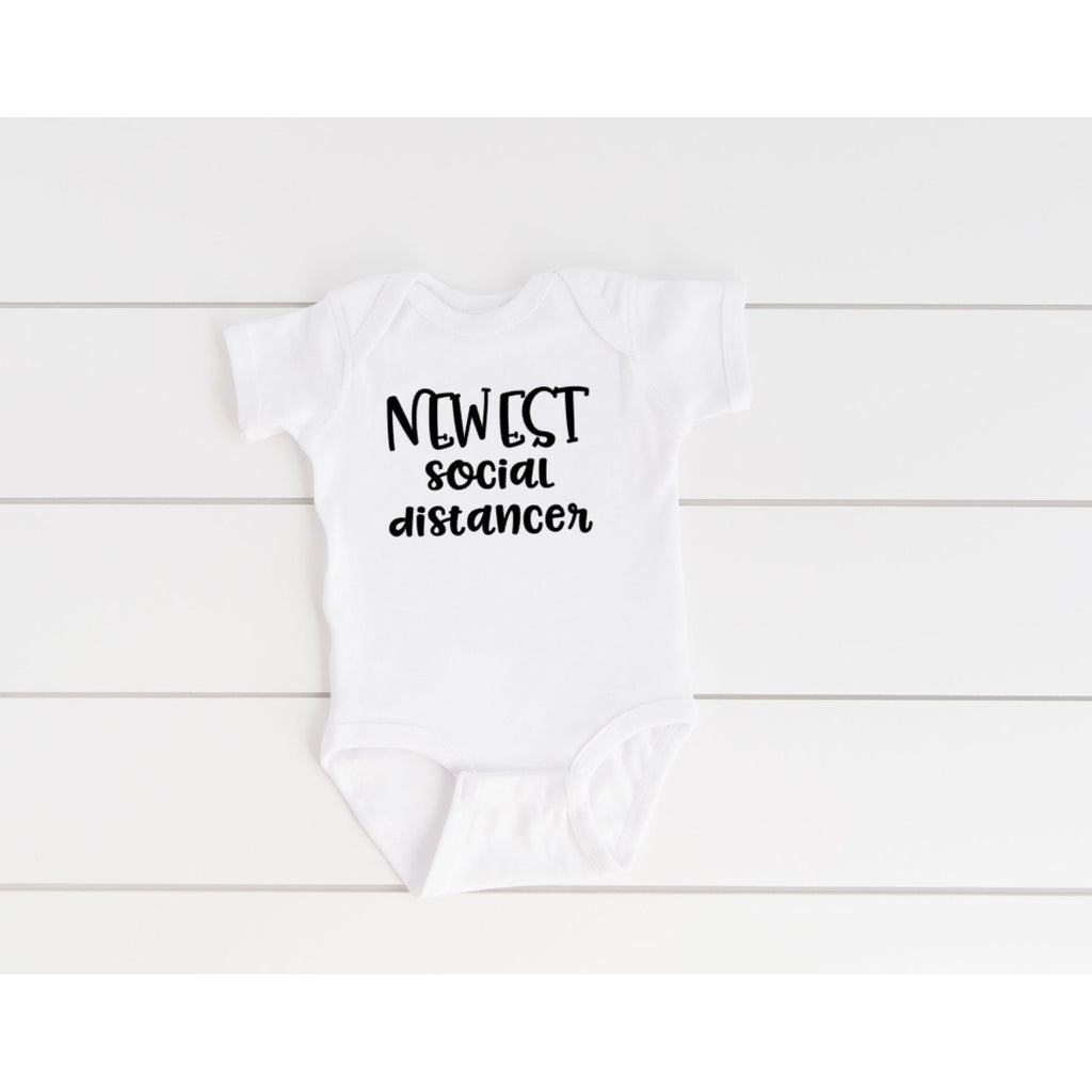 newest social distancer onesie with black text