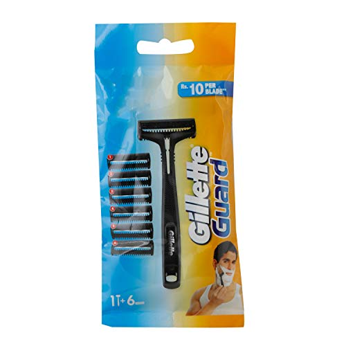 Gillette Guard Manual Shaving Razor Blades - 6 Cartridges, 1 Razor