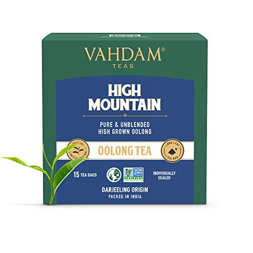 VAHDAM, Himalayan Oolong Tea Bags (15 Pyramid Tea Bags) - 100% Natural Detox Tea, Oolong Tea Loose Leaf Pyramid Tea Bags, Brew Hot, Iced or Kombucha Tea