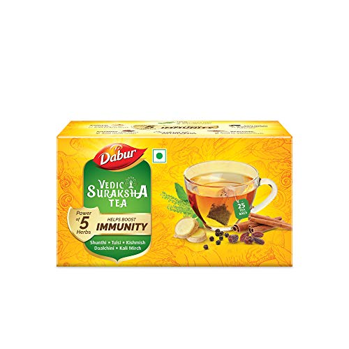 Dabur Vedic Suraksha Black Tea | Builds Immunity | Contains Ayurvedic Herbs Like Tulsi , Daalchini , Shunthi , Black Pepper and Kishmish -25 Tea Bags