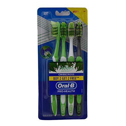 Oral B Oral-B Pro-Health Crisscross Medium B2g2 Tooth Brush - Neem, 4Pack