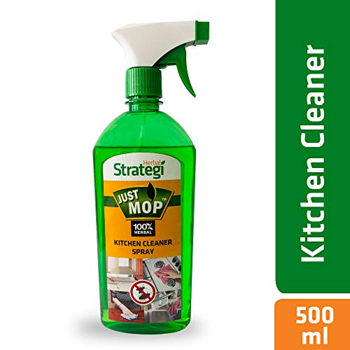 Herbal Strategi – Just Mop Kitchen Cleaner Spray | 100% Herbal | Disinfectant & Insect Repellent | Made with Lemongrass, Pine Oil & Cedar wood Oil | Eco-friendly & Biodegradable | Skin Safe, Baby Safe & Pet-Friendly | 500mL