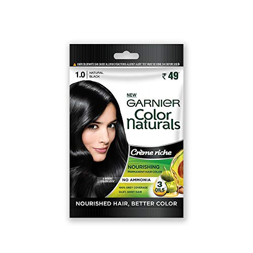 Garnier Color Naturals Creme Riche Sachet, Shade 1, Natural Black, 60