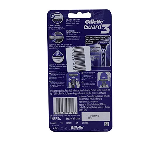 Gillette Guard 3 1 Razor + 2 Cartrides