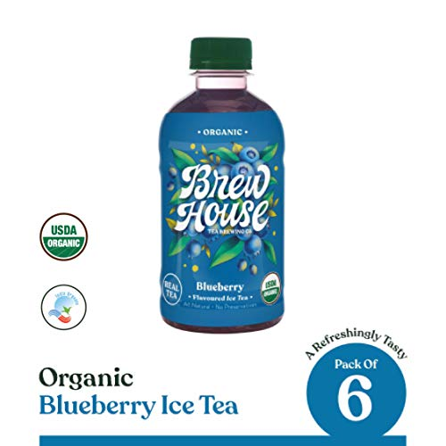 BrewHouse Tea Brewing Co. Naturally Brewed Organic Ice Tea - Blueberry, 300 ml (Pack of 6)