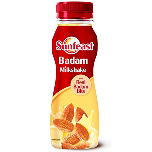 Sunfeast Badam Milkshake with Real Badam Bits | Badam Milk Shake Bottle, 180 ml