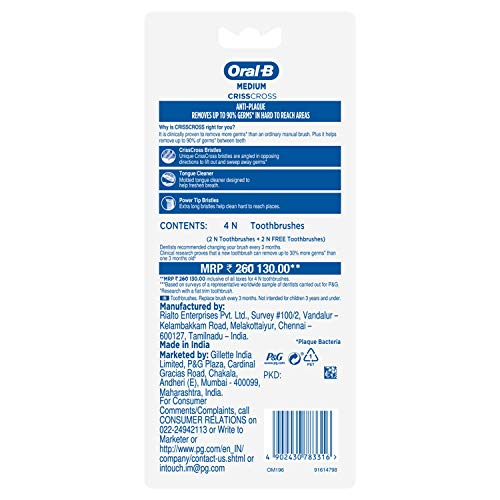 Oral B Pro health Toothbrush medium Buy 2 Get 2 Free