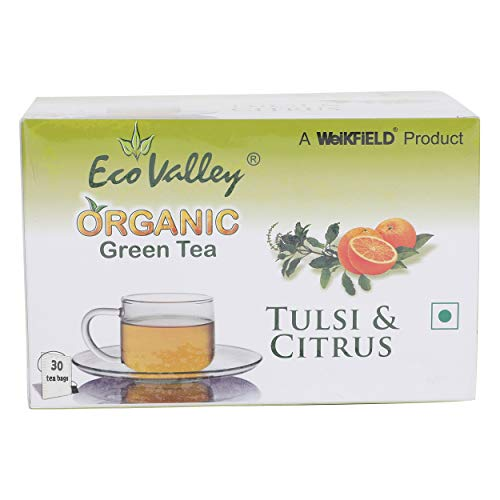 Eco Valley Organic Green Tea - Tulsi & Citrus, 30 Bags