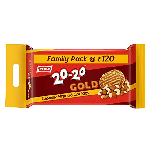 Parle 20-20 Gold Cashew Almond Cookies, 600g
