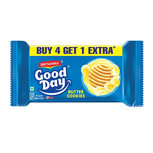 Britannia Good Day Cookies - Butter, (4+1) x 100g Pack