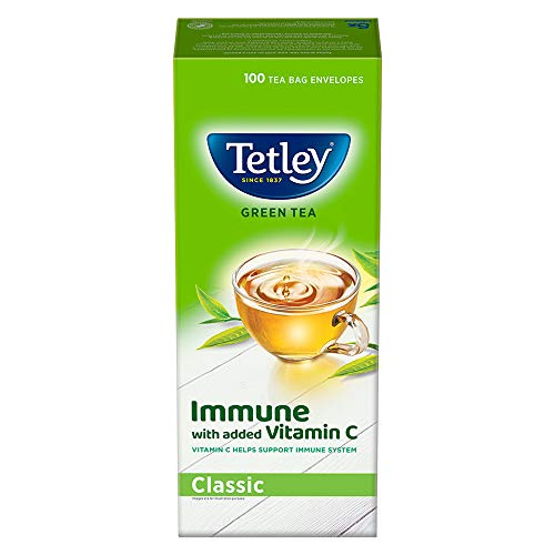 Tetley Green Tea immune with added Vitamin C, Classic, 100 Tea Bags