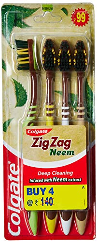 Colgate ZigZag Neem Soft Bristle Toothbrush - 4 Pieces