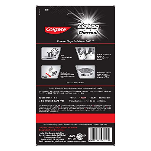 Colgate ZigZag Charcoal Soft Bristle Toothbrush - 4 Pcs
