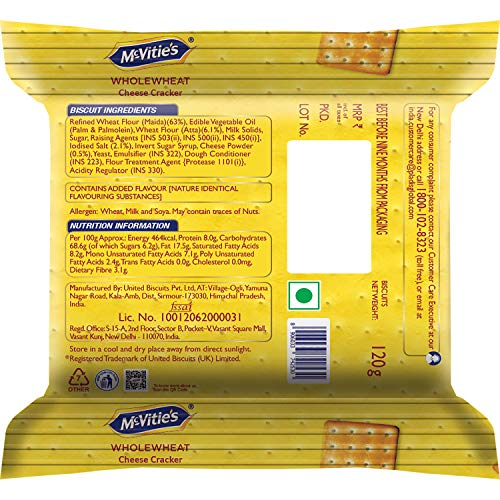 McVitie's Wholewheat Cheese Cracker Biscuits, 120g