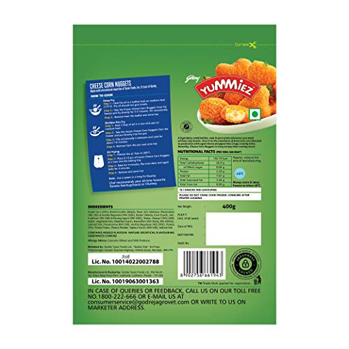 Yummiez Cheese Corn Nuggets Pouch, 400 g