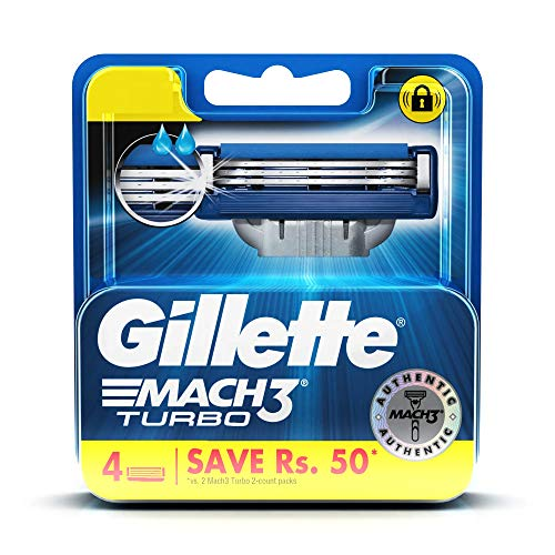 Gillette Mach 3 Turbo Manual Shaving Razor Blades - 4s Pack (Cartridge)