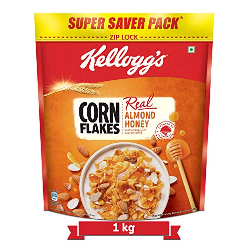 Kellogg's Corn Flakes Real Almond Honey | Breakfast Cereals | High in Vitamin B1, B2, B3, B6 & C| High in Iron | Naturally Cholesterol Free | 1 kg Pack