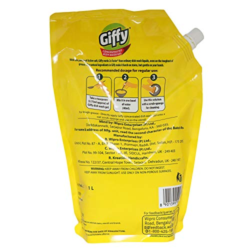 Giffy Concentrated Dish Wash Gel - 1000ml (Lemon & Active Salt)